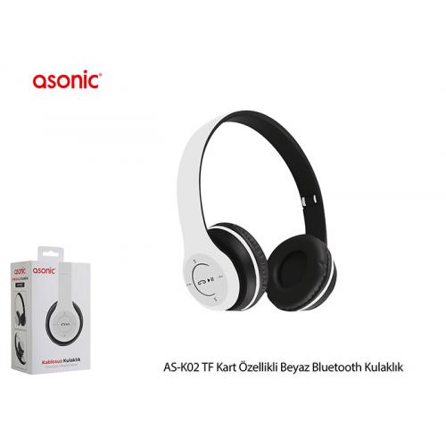 ASONIC AS-K02 Bluetooth Kablosuz Kulaklık, Mikrofon, SD Kart Okuma (Beyaz)