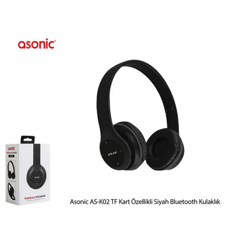 ASONIC AS-K02 Bluetooth Kablosuz Kulaklık, Mikrofon, SD Kart Okuma (Siyah)