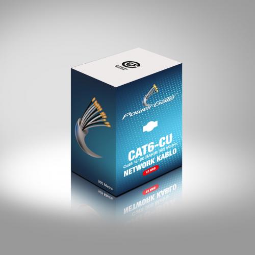 POWERGATE CAT6-CU 23AWG 0,58mm UTP CAT6 %100 Bakır Kablo 305m