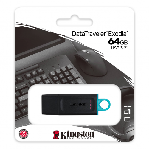 KINGSTON DTX/64GB USB 3.2 Data Traveler Exodia Gen 1 Flash Disk (Siyah - Turkuaz)