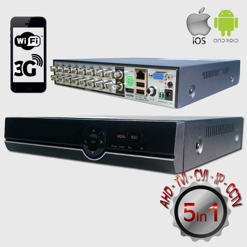 POWERGATE FLASH-B16 5Mpix H265+ 16Kanal Video, 1Kanal Ses, 1 HDD, 1944N, 3G Wifi, XMeye 5in1 DVR