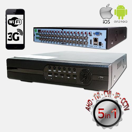 POWERGATE FLASH-B32 5Mpix H265+ 32Kanal Video, 16Kanal Ses, 4 HDD, 1944N, 3G Wifi, XMeye 5in1 DVR