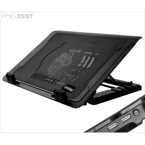 "FRISBY FNC-35ST 14cm Fan, 10""-17"" Notebook Soğutucu, 5 Kademeli Stand, Mavi Ledli (Siyah)"