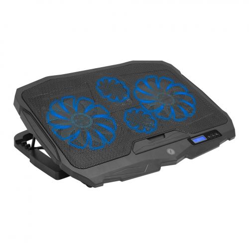 """FRISBY FNC-5230ST (2x12,5cm 2x7cm) 4 Fan, 10""""-17"""" Notebook Soğutucu, 5 Kademeli Stand, 3 Farklı Program, Ayarlanabilir Hız, Mavi Ledli (Siyah)"""