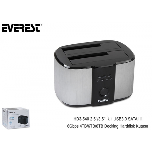 "EVEREST HD3-540 USB 3.0 2li 2,5"" 3,5""Dock Station"