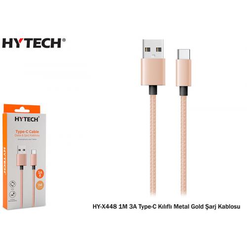 HYTECH HY-X448 1M 3A Type-C Kılıflı Metal Gold Şarj Kablosu