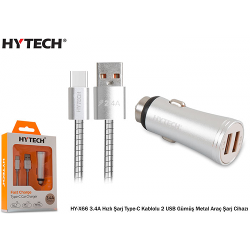 HYTECH HY-X66 3.4A Hızlı Şarj Type-C Kablolu 2 USB Gümüş Metal Araç Şarj Cihazı