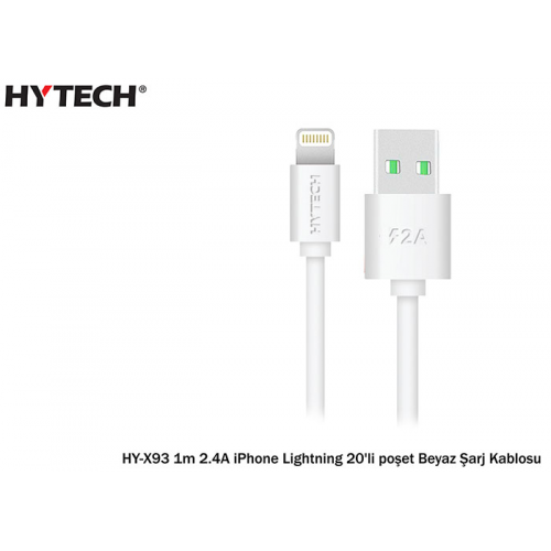 HYTECH HY-X93 1m 2.A iPhone Lightning Beyaz Şarj Kablosu