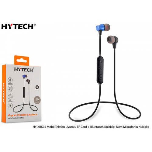 HYTECH HY-XBK75 Mavi Mobil Telefon Uyumlu TF Card Destekli,Bluetooth,Kulak içi Mikrofonlu Kulaklık