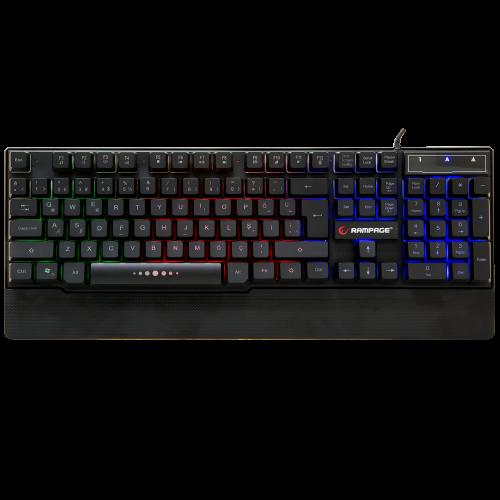 RAMPAGE KB-R66 Gaming KLAVYE. Gökkuşağı Aydınlatmalı, Plastik Case, USB
