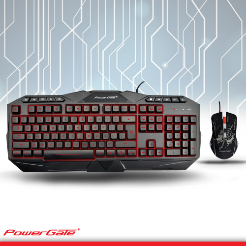 POWERGATE KM-A7 Işıklı Klavye + Mouse USB Kablolu