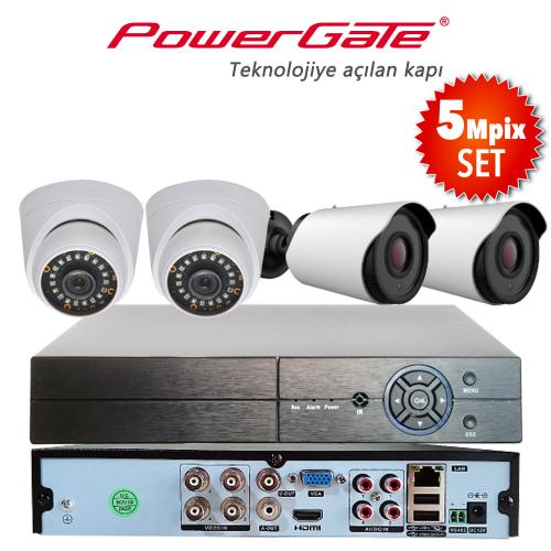 POWERGATE NEON-4DB-K12 5Mpix 4 Kameralı Set. NEON-K01 2adet Dome, NEON-K12 2adet Bullet Kamera, FLASH-B04 5Mpix 4Kanal DVR