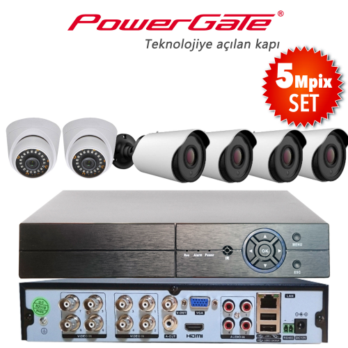 POWERGATE NEON-6DB-K12 5Mpix 6 Kameralı Set. NEON-K01 2adet Dome, NEON-K12 4adet Bullet Kamera, FLASH-B08 5Mpix 8Kanal DVR