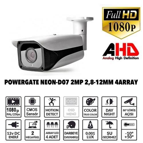 POWERGATE NEON-D07 2Mpix, 4Array Led, 70Mt Gece Görüş, 2,8-12mm Lens, Dış Mekan Büyük Metal Kamera