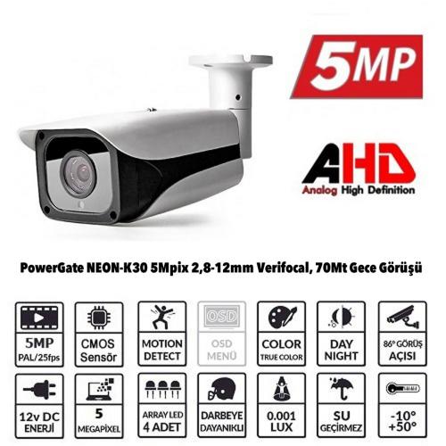 POWERGATE NEON-K30 5Mpix, 4adet Array Led, 70Mt Gece Görüş, 2,8-12mm Lens, Dış Mekan Büyük Metal Kamera