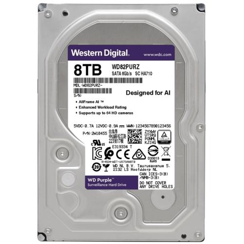 """WD PURPLE WD82PURZ 3,5"""" 8TB, 256mb, 7200 Rpm, 7/24 Güvenlik HDD"""