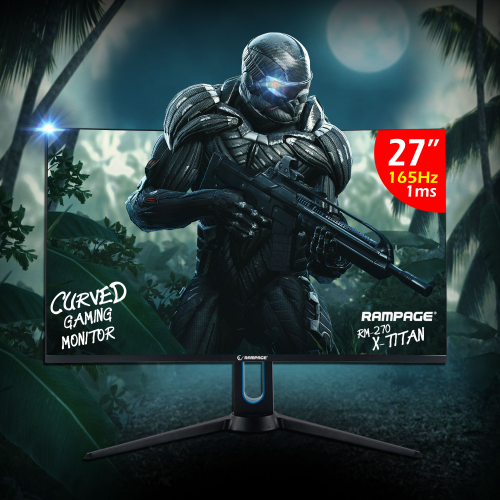 "RAMPAGE RM-270 X-TITAN 27"" 1ms, 165Hz, Full HD, 3x HDMI, DP, VA LED, Curvet, FreeSync Gaming Monitör"