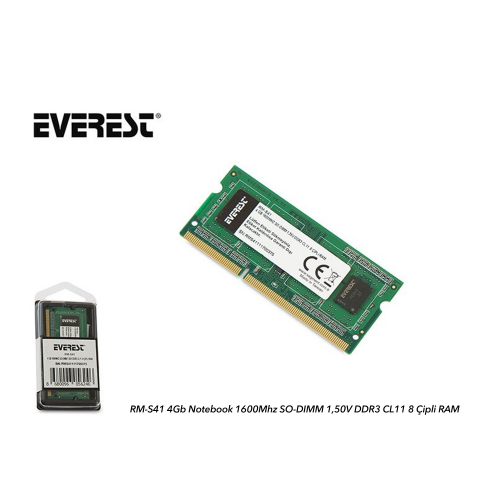 EVEREST RM-S41 4Gb 1600Mh DDR3 Sodimm Notebook RAM, 1,50V
