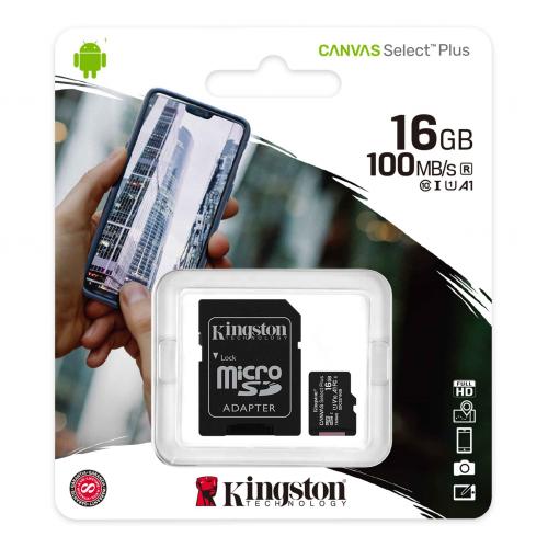 KINGSTON SDCS2/16GB CL10 100Mb/s MicroSD (SD Adaptörlü)