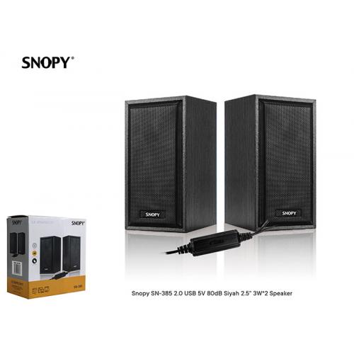 SNOPY SN-385 1+1 Masa Üstü, USB SPEAKER, 6W, AHŞAP Kabin (Siyah)