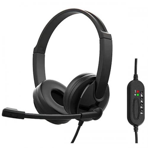 SNOPY SN-CS30 Çağrı Merkezi,Uzaktan Eğitim ve Konuşma Usb Mikrofonlu Kulaklık (Siyah)