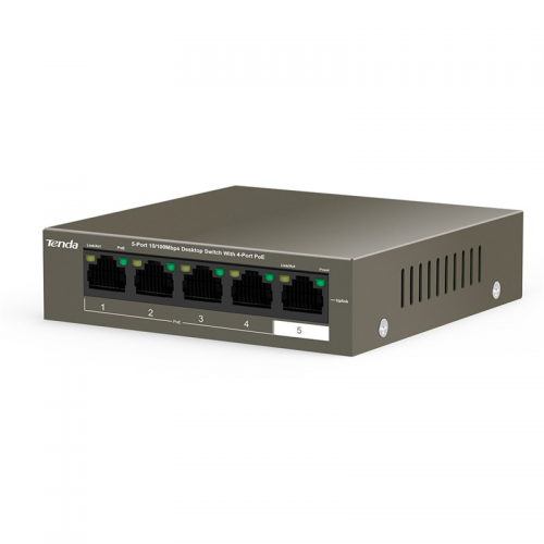 Tenda TEF1105P-4-63W 5Port 10/100, 4X PoE 63W, Metal Kasa, Switch
