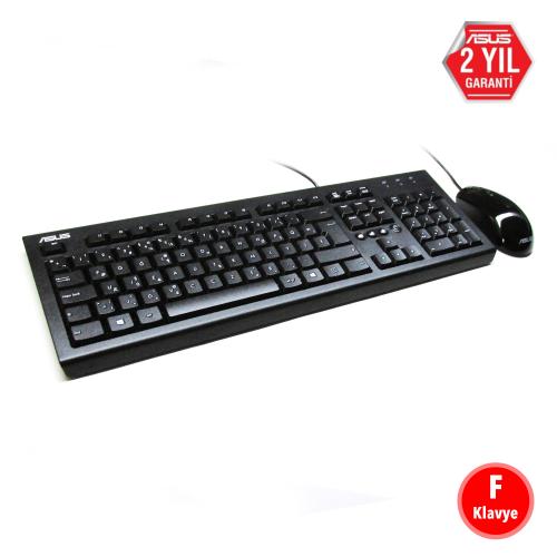 ASUS U2000 F Klavye Mouse Set Kablolu USB (Siyah)