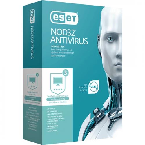 ESET NOD32 ANTIVIRUS 3 Kullanıcı , 1 YIL