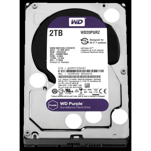 """WD PURPLE WD20PURZ 3,5"""" 2TB, 64mb, 5400Rpm, 7/24 Güvenlik HDD"""
