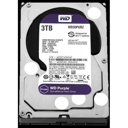 """WD PURPLE WD30PURZ 3,5"""" 3TB, 64mb, 5400 Rpm, 7/24 Güvenlik HDD"""