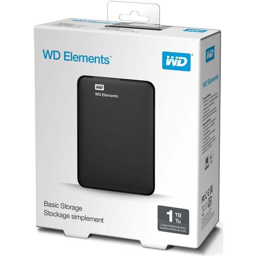 """WD Elements 1TB 2,5"""" USB3,0 (WDBUZG0010BBK), Harici HDD, Siyah"""