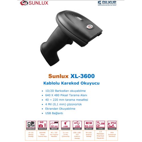 SUNLUX XL-3600 EL Tipi, Laser, USB Kablolu, 1D ve 2D (Kare Kod), Barkod Okuyucu